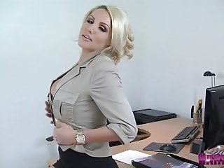 Hot blonde secretary strips off to play with tits and pussy