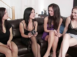 Mandy and her three friends get naked in oral sex sex session