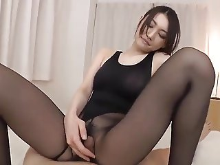 Black pantyhose in black leotard