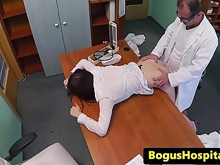 Europatient sucks doctor and rubs her pussy