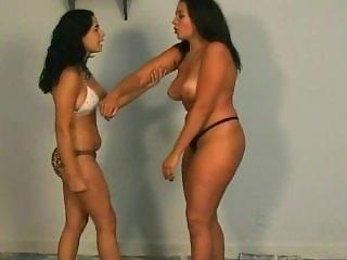 Thick Brazilian Latina Topless Belly Punching