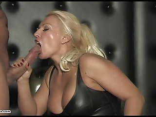 Dirty blonde cum slut femdom sucks and fucks slaves big cock