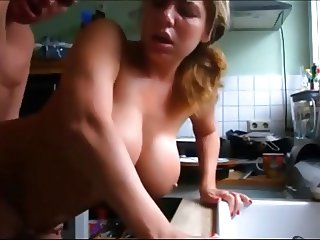 woman with big natural tits getting fucked in the kitchen