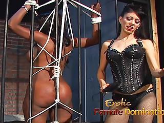 Jailed ebony girl punished by mistress Natasha after being