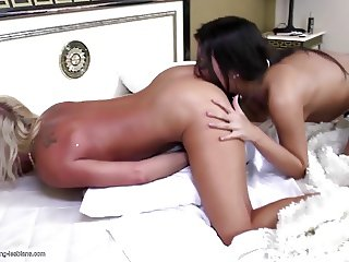 not Teen daughter licks and fucks old granny