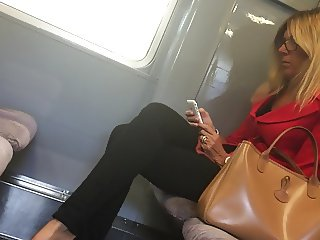 Beautiful feet in shoes high heels in train 4