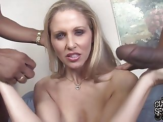 Busty mature wife go black while cuckold watch