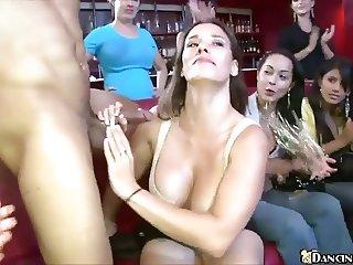 Gorgeous women suck dick at Dancing Bear party