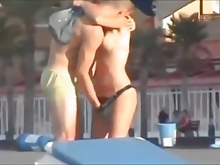 Spying Couple Getting Horny At The Beach