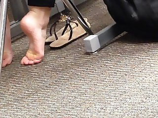 Candid College Cheerleader Feet in Class 3