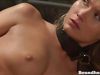 Cuffed dancing slave stripper shaking big ass for mistress