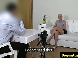 Casting euro toying her vagina with vibrator