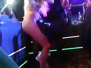 Naked singing and dancing in club without panties