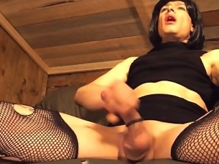 Shemale in Stockings & Cock Ring Talking Dirty, Moaning, & Ass Play Cums 2x
