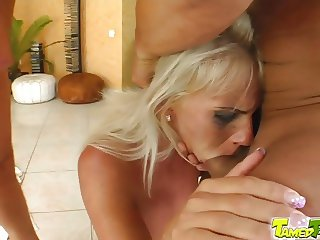 Tamed Teens Teen snatch fucked by hard threesome action
