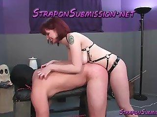 Big tits redhead Mistress beats and fucks male submissive