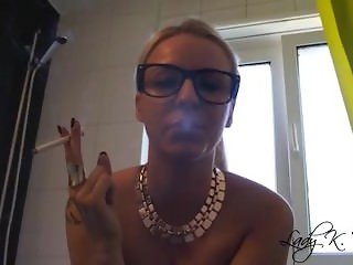 German Blonde Smoking, Human Ashtray, Spitting, High Heels POV