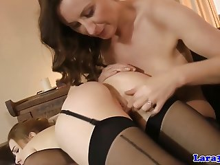 Classy mature eats eastern european pussy