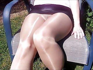 Spandex Angel - Backyard nylon tease no panties