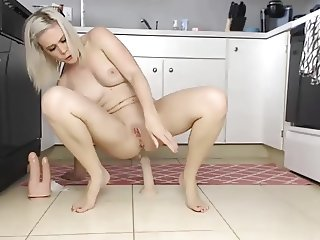 Milf squirts on kitchen floor has multiple orgasms on dildo