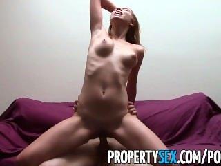 PropertySex - Nudist tenant with mesmerizing natural tits fucks landlord