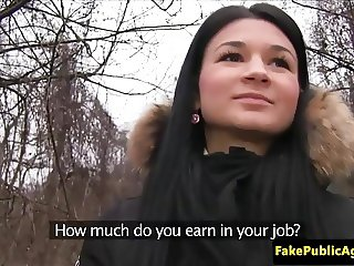 Shy pickeup Czech babe blows agent cock