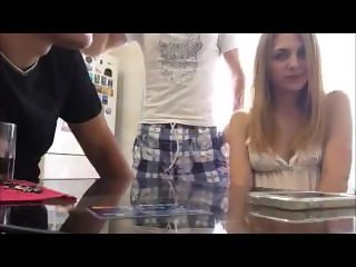 Drunk russian girl and two guys