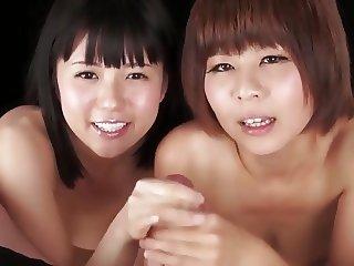Double Japanese Girls sensual handjob