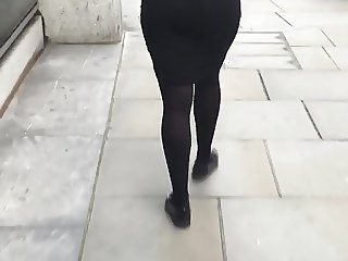 British London Office Ass Tight skirt Visible Thong Voyeur