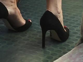Beautiful feet in shoes high heels in train 17 (short)