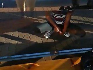 Korean guy dick flash cumshot and run