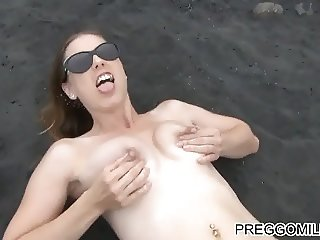 shooting breastmilk on the beach lactation fun with milf