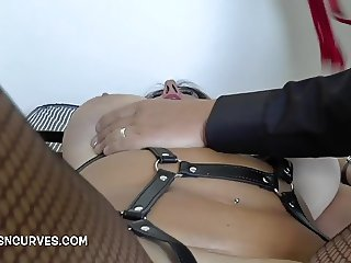 British Cougar Lulu Lush on a leash