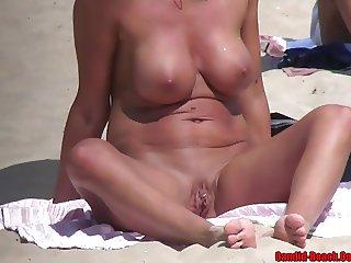 Pierced Pussy Nudist Horny Milf beach Voyeur HD Video