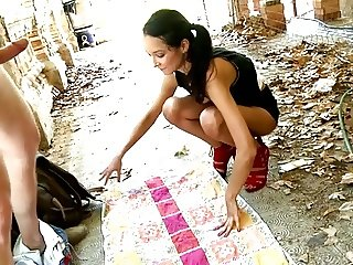 Cute Brasilian Pocahontas analfucked outdoor