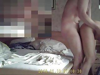 sporty wife in bedroom