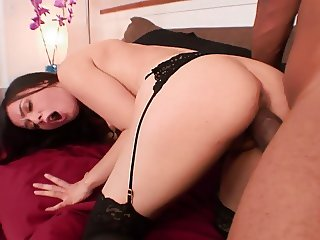 Young hottie in stockings eats cum after a hard fuck