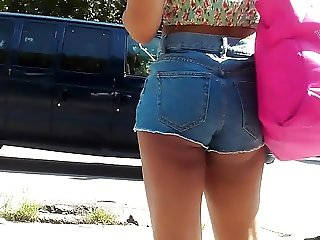 Latina Ass Cheeks Short Shorts At Bus Stop