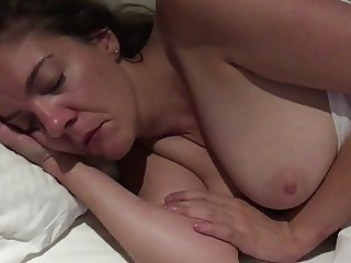 My not sister in bed with tits on show