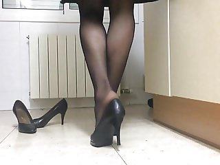Black heels at home