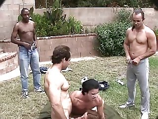 BITCHY REDHEAD GETS FUCKED BY GROUP OF MEN
