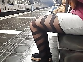 Sexy patterned pantyhose girl in metro
