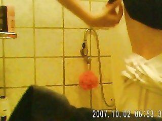 Friend in bathroom