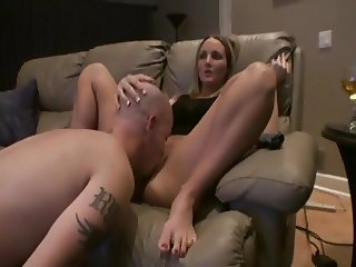 luxury blonde. licking on the couch
