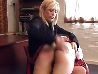Headmistress Spanks a School Girl and Teacher
