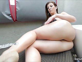 Busty Pornstar Sara Jay fucks Big Black Dildo!