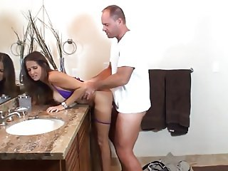 sexy whore wife gets fucked by husbands friend in bathroom