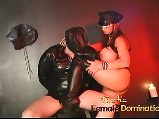 Busty brunette stunner has her pussy licked in the dungeon