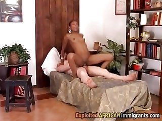 African hotty sucks white rod and rides