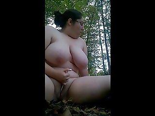 BBW Nudist Bold Outdoor Masturbation